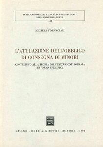 Libro L' attuazione dell'obbligo di consegna di minori. Contributo alla teoria dell'esecuzione forzata in forma specifica Michele Fornaciari