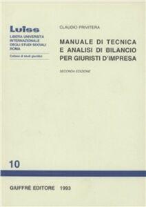 Foto Cover di Manuale di tecnica e analisi di bilancio per giuristi d'impresa, Libro di Claudio Privitera, edito da Giuffrè