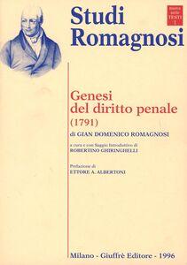 Libro Genesi del diritto penale (1791) G. Domenico Romagnosi