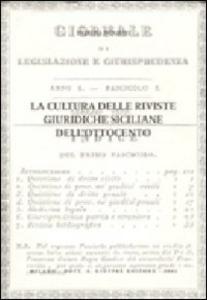 Libro La cultura delle riviste giuridiche siciliane dell'Ottocento Patrizia De Salvo