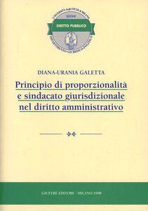 Libro Principio di proporzionalità e sindacato giurisdizionale nel diritto amministrativo Diana U. Galetta