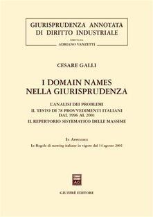 I domain names nella giurisprudenza. L'analisi dei problemi. Il testo di 78 provvedimenti italiani dal 1996 al 2001. Il repertorio sistematico delle massime - Cesare Galli - copertina