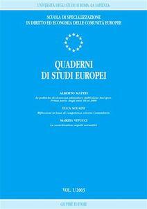 Libro Quaderni di studi europei (2003). Vol. 1