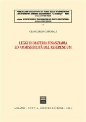 Leggi in materia finanziaria ed ammissibilità del referendum