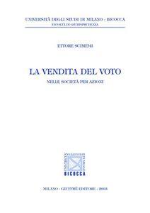 Libro La vendita del voto. Nelle società per azioni Ettore Scimemi