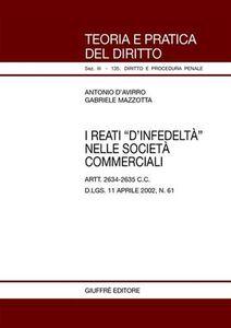Libro I reati «d'infedeltà» nelle società commerciali. Artt. 2634-2635 C. c. D.Lgs. 11 aprile 2002, n. 61 Antonio D'Avirro , Gabriele Mazzotta