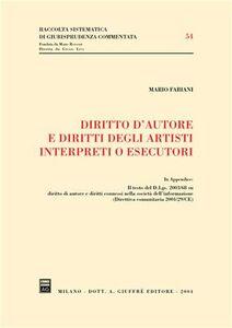 Libro Diritto d'autore e diritti degli artisti interpreti o esecutori Mario Fabiani