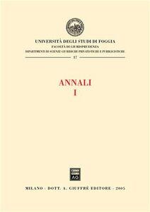 Libro Annali della Facoltà di giurisprudenza dell'Università di Foggia. Vol. 1
