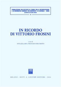 Libro In ricordo di Vittorio Frosini Anna Jellamo