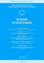 Quaderni di studi europei (2005). Vol. 1