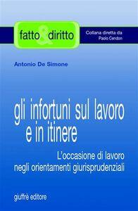 Libro Gli infortuni sul lavoro e in itinere. L'occasione di lavoro negli orientamenti giurisprudenziali Antonio De Simone
