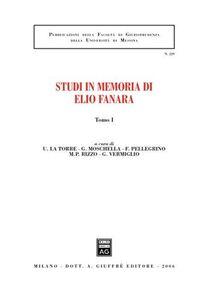 Libro Studi in memoria di Elio Fanara. Vol. 1