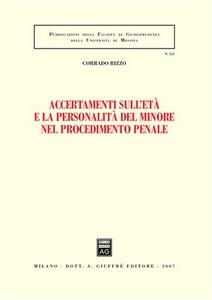 Libro Accertamenti sull'età e la personalità del minore nel procedimento penale Corrado Rizzo