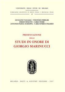 Libro Presentazione degli studi in onore di Giorgio Marinucci