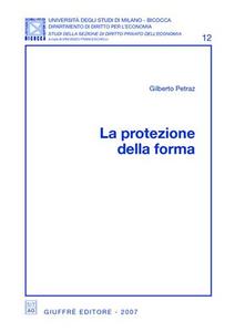Libro La protezione della forma Gilberto Petraz