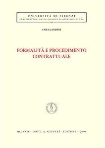 Libro Formalità e procedimento contrattuale Sara Landini