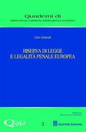 Riserva di legge e legalità penale europea