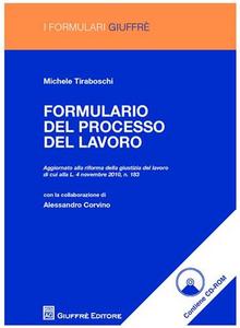 Libro Formulario del processo del lavoro. Con CD-ROM Michele Tiraboschi