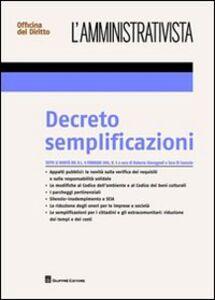 Libro Decreto semplificazioni Roberto Giovagnoli , Sara Di Cunzolo