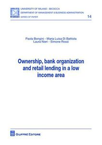 Libro Ownership, bank organization and retail lending in a low income area