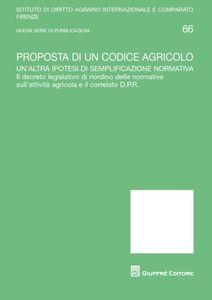 Libro Proposta di un codice agricolo