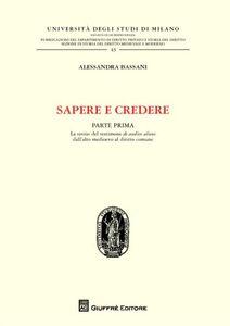 Libro Sapere e credere Alessandra Bassani