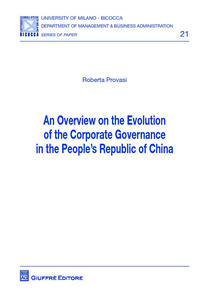 Overview on the evolution of the corporate governance in the people's republic of China (An)