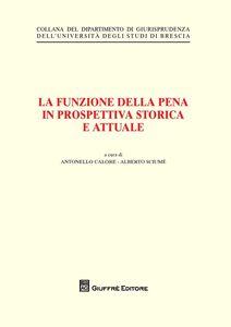 Libro La funzione della pena in prospettiva storica e attuale
