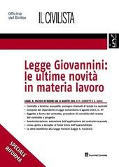 Legge Giovannini. Le ultime novità in materia lavoro