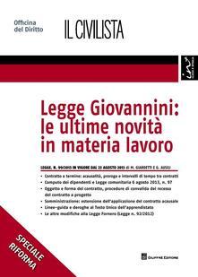 Legge Giovannini. Le ultime novità in materia lavoro - Marco Giardetti,Giulia Ausili - copertina