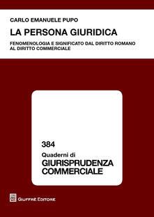 La persona giuridica - Carlo Emanuele Pupo - copertina