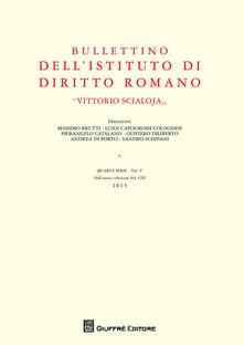Bullettino dell'Istituto di diritto romano «Vittorio Scialoja». Vol. 5 - copertina