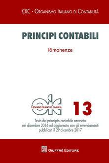 Principi contabili. Vol. 13: Rimanenze. - copertina