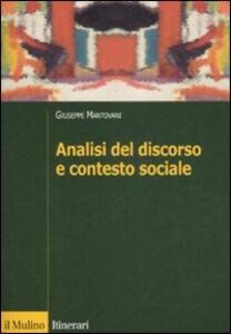 Analisi del discorso e contesto sociale - Giuseppe Mantovani - copertina