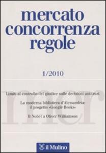 Mercato concorrenza regole (2010). Vol. 1 - copertina