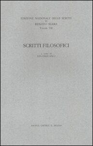 Libro Scritti filosofici Renato Serra