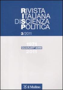 Rivista italiana di scienza politica (2011). Vol. 3 - copertina