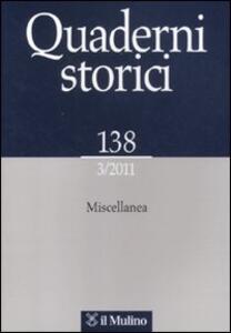 Quaderni storici (2011). Vol. 3 - copertina
