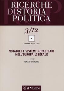 Ricerche di storia politica (2012). Vol. 3 - copertina