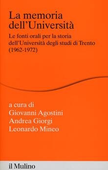 Ristorantezintonio.it La memoria dell'Università. Fonti orali per la storia dell'Università di Trento (1962-1972) Image
