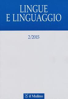 Lingue e linguaggio (2015). Vol. 2 - copertina