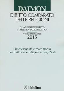 Quaderni di diritto e politica ecclesiastica (2015). Numero speciale: Omosessualità e matrimonio nei diritti delle religioni e degli Stati - copertina