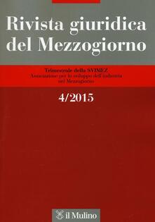 Rivista giuridica del Mezzogiorno (2015). Vol. 4 - copertina