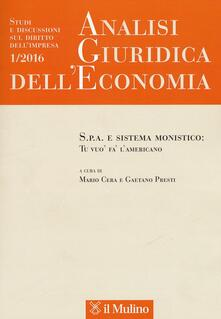 Letterarioprimopiano.it Analisi giuridica dell'economia (2016). Vol. 1 Image