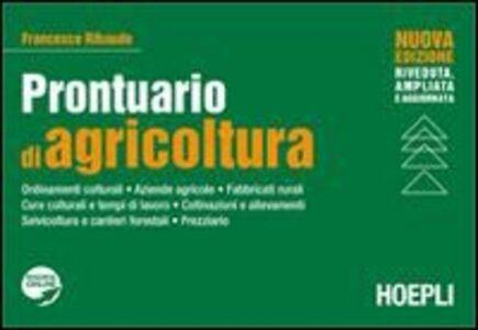 Foto Cover di Prontuario di agricoltura, Libro di Francesco Ribaudo, edito da Hoepli