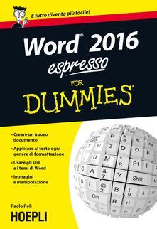 Word 2016 espresso For Dummies - Paolo Poli - copertina