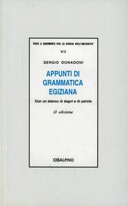 Libro Appunti di grammatica egiziana con un elenco di segni e di parole Sergio Donadoni