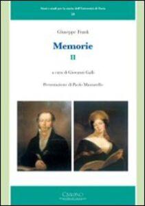 Foto Cover di Giuseppe Frank. Memorie. Vol. 2, Libro di  edito da Cisalpino