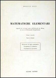 Matematiche elementari. Vol. 2 - Modesto Dedò - copertina