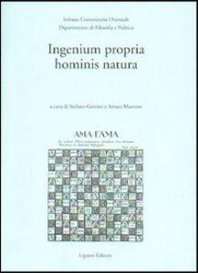 Libro Ingenium propria hominis natura Stefano Gensini , Arturo Martone